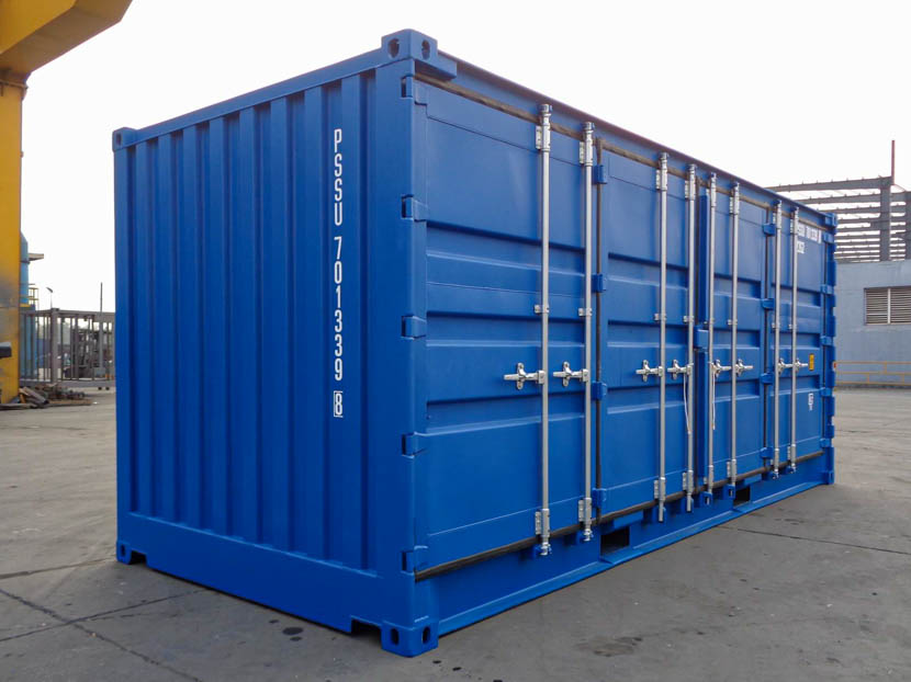 Blue Open Side Container